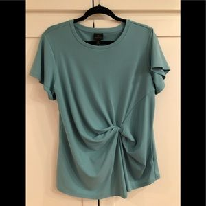 Lovely popover soft blue green twist front blouse.